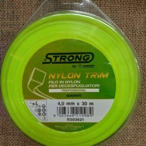 Filo quadrato decespugliatore professionale in nylon 4 mm x 30 mt